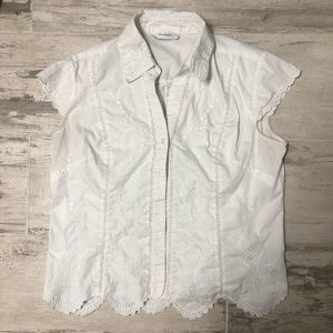 Dress Barn Lace Button Up White Blouse (Size S)